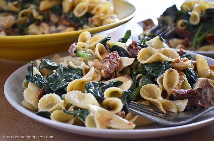 Pasta with Chicken, Sun-Dried Tomatoes and Spinach in a Creamy Mascar ...