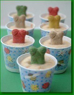 homemade doggie ice cream!  ♥ ♥ ♥ ♥   Three 6-oz Containers of Plain, Low-Fat Yogurt  1/2 Cup Peanut Butter (Low Sodium)  One 4-oz Jar Banana Baby Food  1 Tablespoon of Honey  Mix well. Pour into Dixie Cups. Place dog bone in mixture (to serve as the  handle). Once frozen, peel away paper & serve!