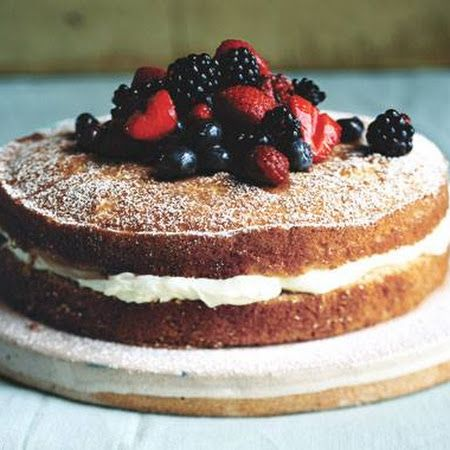 Mascarpone Filled Buttermilk Cake with Sherried Berries