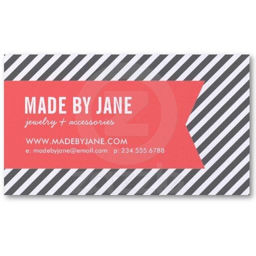http://www.zazzle.com/charcoal_gray_coral_modern_stripes_ribbon_business_card-240835126860736277