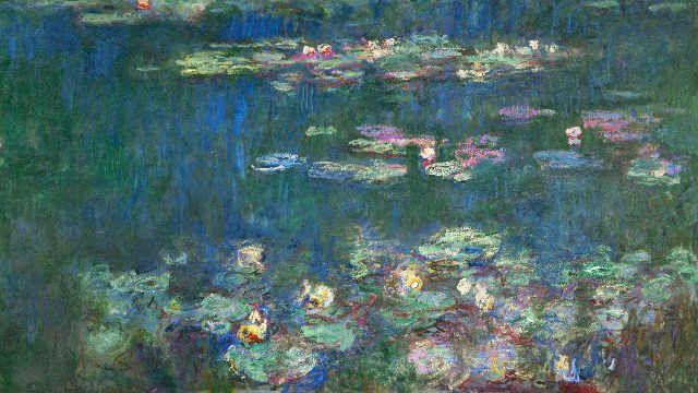 Claude monet le bassin aux nymph as sans saules reflets vert 85 0 - Le bassin aux nympheas ...