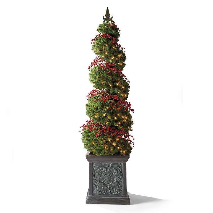 spiral topiary urn with red berry lights holiday. Black Bedroom Furniture Sets. Home Design Ideas