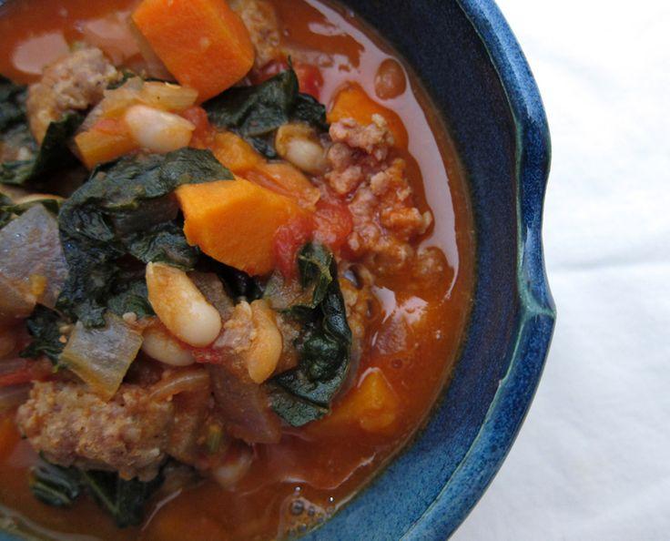 white bean, sweet potato, & kale stew (with sausage) | everybody likes ...