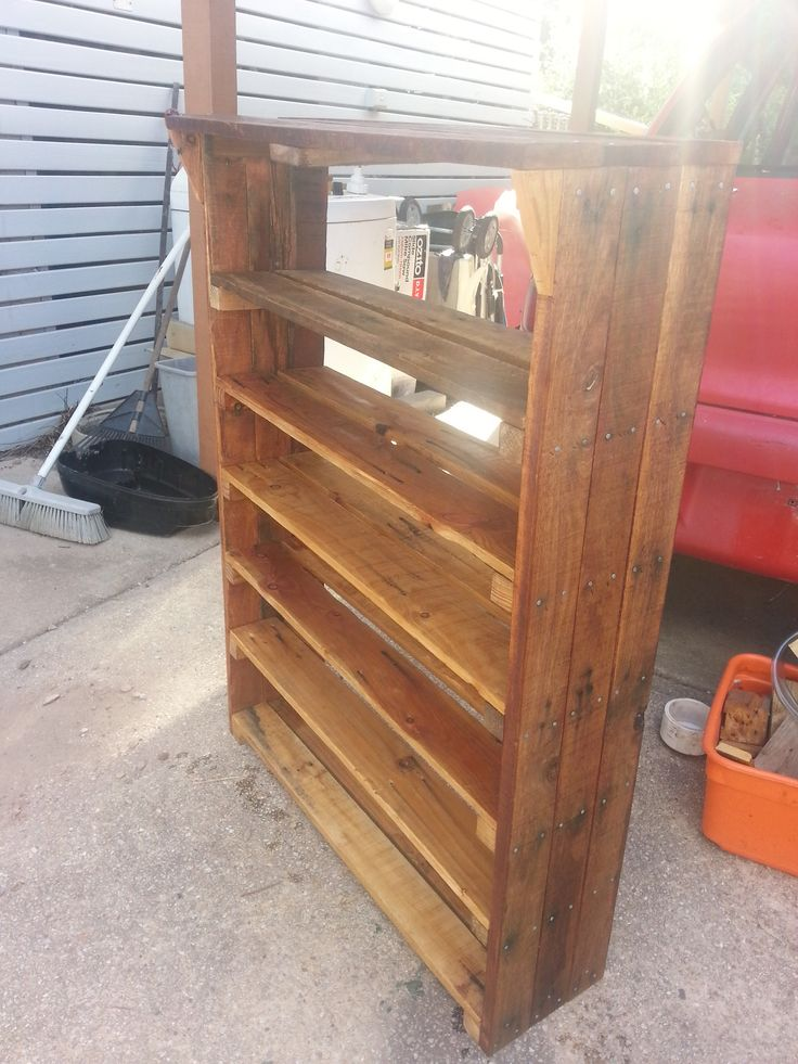 Shoe rack made from old pallets pallets pinterest for Shoe rack made from pallets