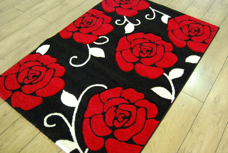 Rug Black Red White Offers Flower And