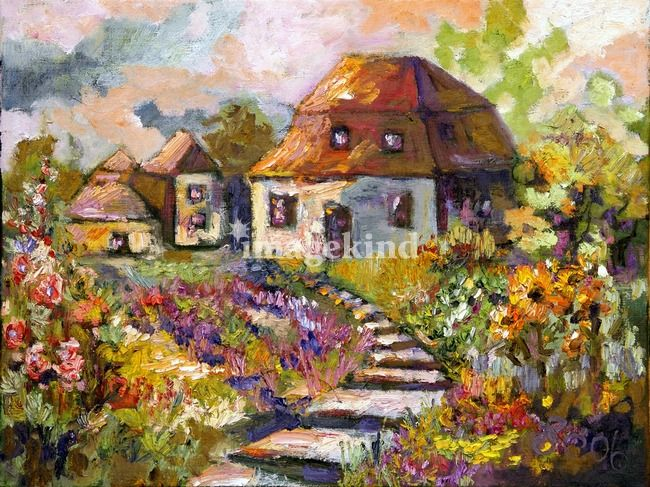 Quot Garden Cottage Oil Painting By Ginette Callaway Quot By