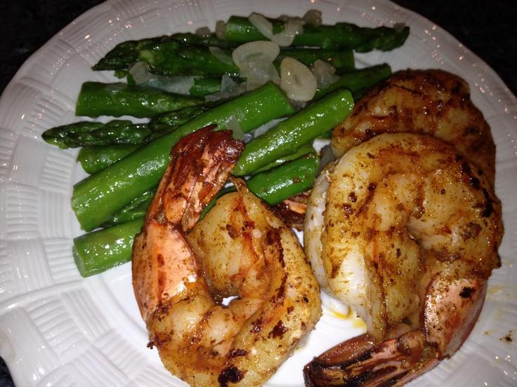 Pan Seared Spicy Jumbo Shrimp & Sauteed Asparagus http ...