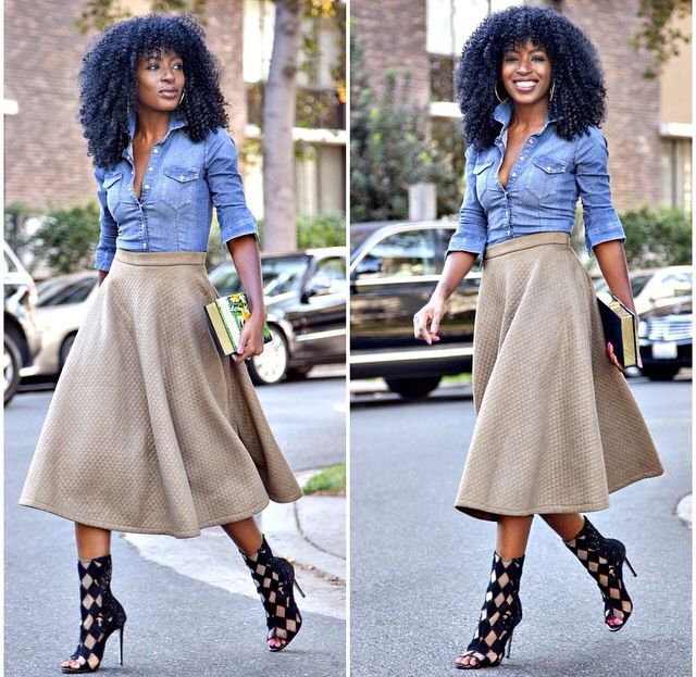 Casual chic, Denim shirt & khaki skirt paired with black heels