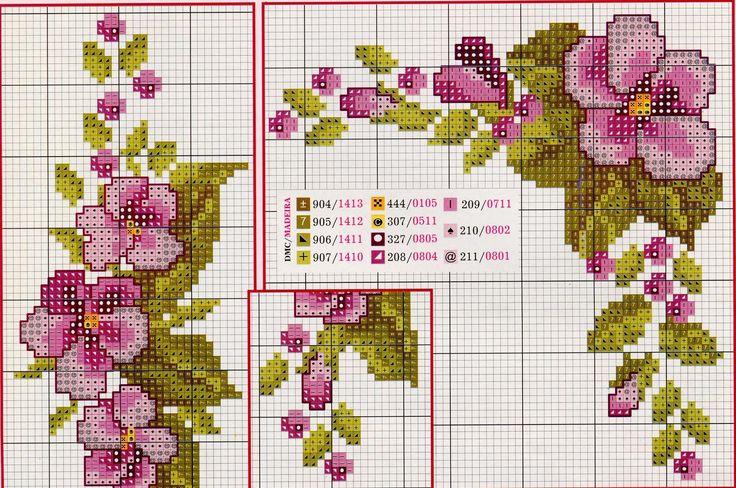 Вышивка для скатерти цветы 150