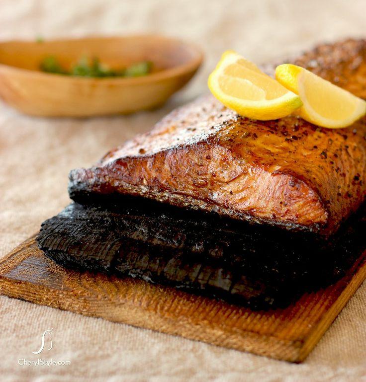 Grilled cedar plank grilled salmon