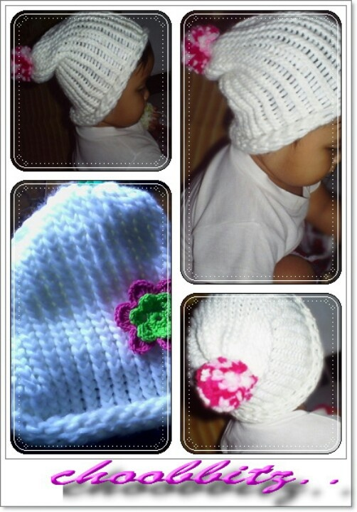Knitting baby hat with knitting loom