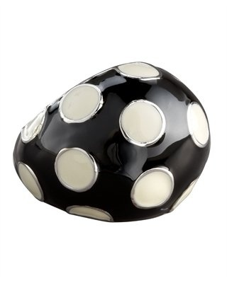 MARC by Marc Jacobs. Black and White Polka Dot Dome Ring.