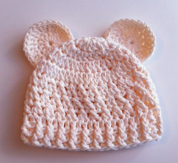 Crochet Baby Hat Bear Pattern : Crochet Pattern for Baby Bear Beanie Hat - 5 Sizes, baby ...