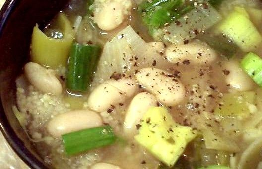 Recipe: Leek & Cannellini Bean Soup with Cous Cous from Poor Girl Eats ...