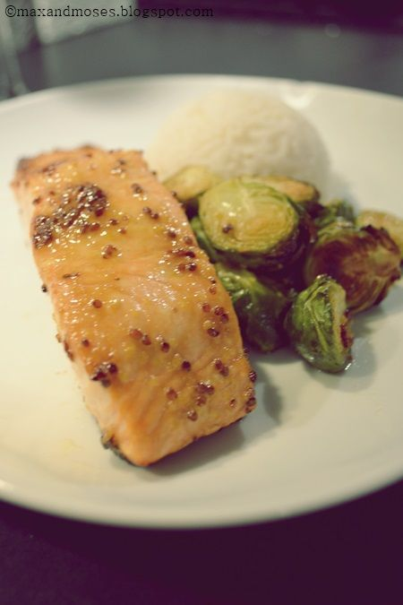 Maple And Mustard-Glazed Salmon With Roasted Brussels Sprouts Recipe ...