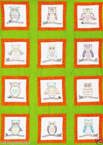 "OWLS, Jack Dempsey Stamped Embroidery Pack 12 Quilt Blocks 9"" Owls 737 ..."