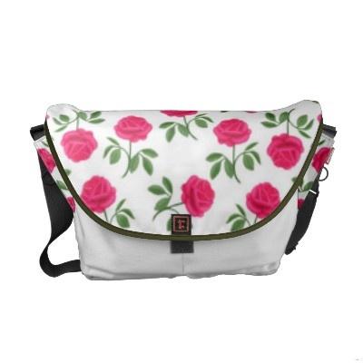 Pink english tea roses messenger bag by carolyn mcfann for rickshaw