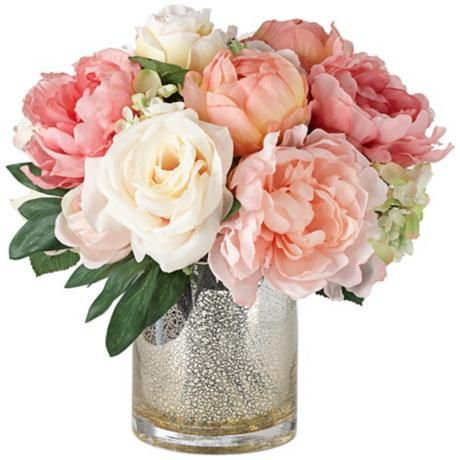 Peonies Roses And Hydrangeas In A Large Mercury Glass Vase