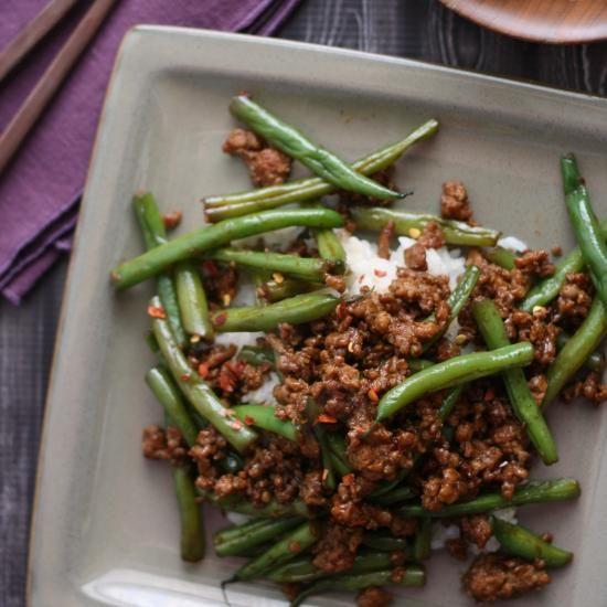 Sichuan green beans &ground pork. Looks easy & tasty.
