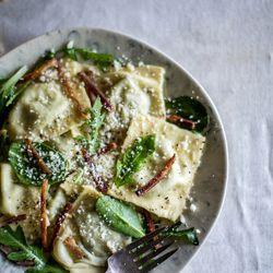 ... Goat Cheese, & Homemade Ricotta Ravioli with bacon, greens, and lemon