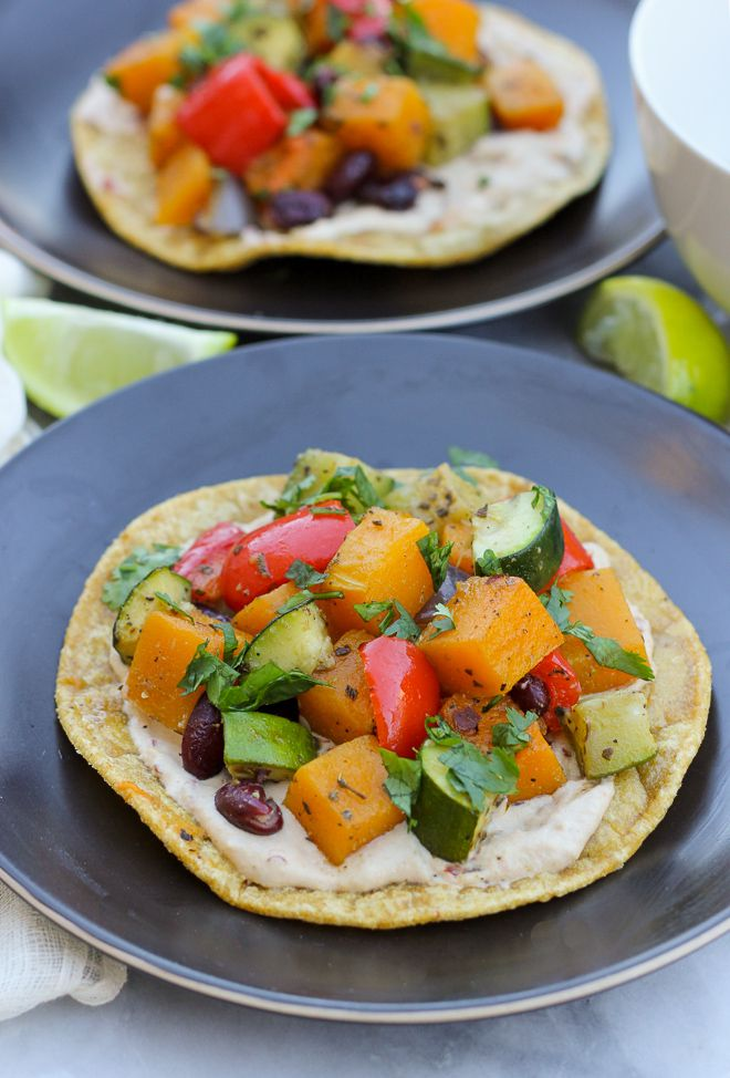 Roasted Vegetable Tostadas with Chipotle Cream