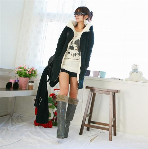 Versatile Cozy Shearling and Fleece Lined Velvet Hooded Sweat Jacket