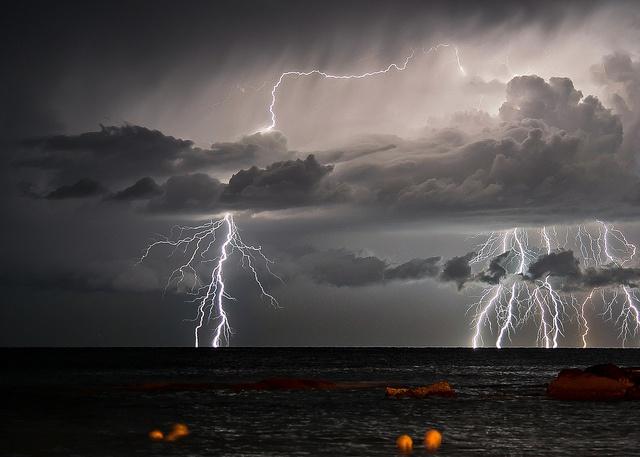 Sudden lightning storm by golf of Genoa