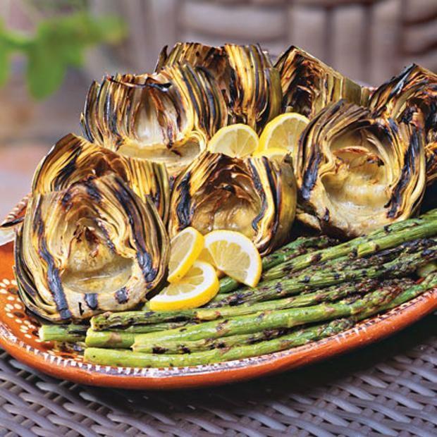 Grilled Artichokes And Asparagus - vegan | vegan | Pinterest