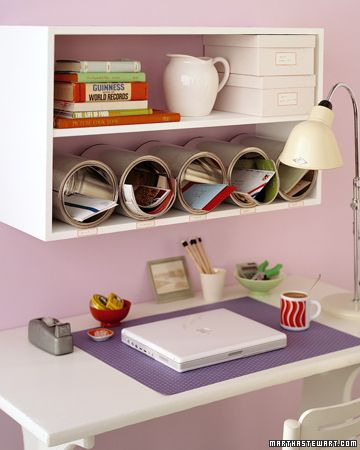 Don't let your desktop disappear under piles of paperwork. Inexpensive, unused cans can easily become organizing cubbyholes with a modern, fun flair.