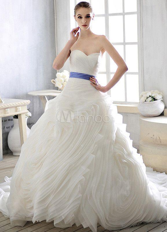 ... cou robe de mariée a-ligne de ceinture pour mariée - Milanoo.com