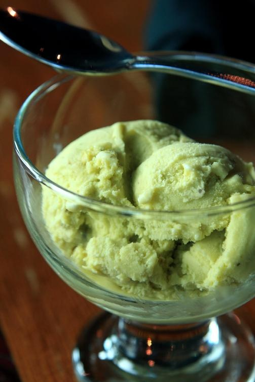 Pistachio gelato, not to be confused with pistachio ice cream.