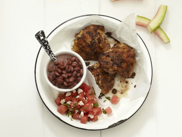 Jerk Chicken Thighs. What I like about this recipe isn't how it's put...