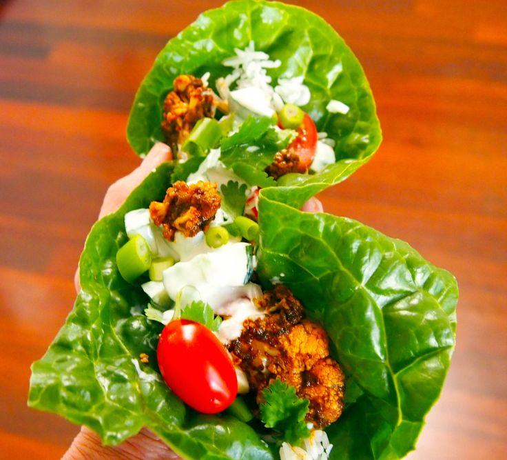 Vegan MoFo Tandoori Cauliflower & Cucumber Raita Wraps