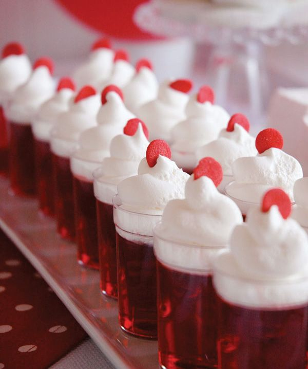 Jello in small clear plastic cups!  Great for a b-day party treat!