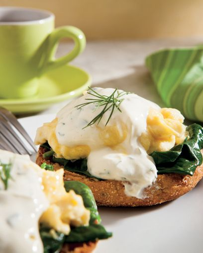 Eggs Florentine. much lighter than holinday sauce and better tasting.