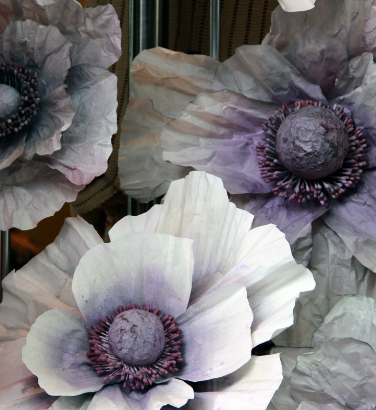 Natural hand-dyed paper flowers for @Anthropologie . store windows. What the heck is 'natural' about paper flowers or dyed paper flowers?!? NOTHING!  But I love poppies, and giant purple poppies even more!