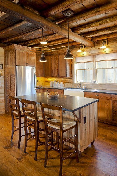 Log cabin kitchen for the home pinterest for Log cabin kitchen islands