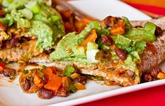 Vegan Enchiladas with Cilantro Avocado Cream Sauce.
