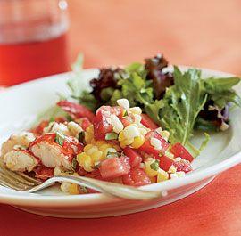 Tomato, Corn & Basil Salad with Lobster   Recipe
