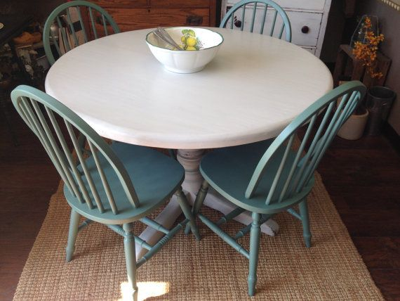 Round kitchen table set gray and teal dining table set for Teal kitchen table