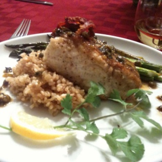 Pan-Roasted fresh halibut with prosciutto, brown rice, reduction sauce ...