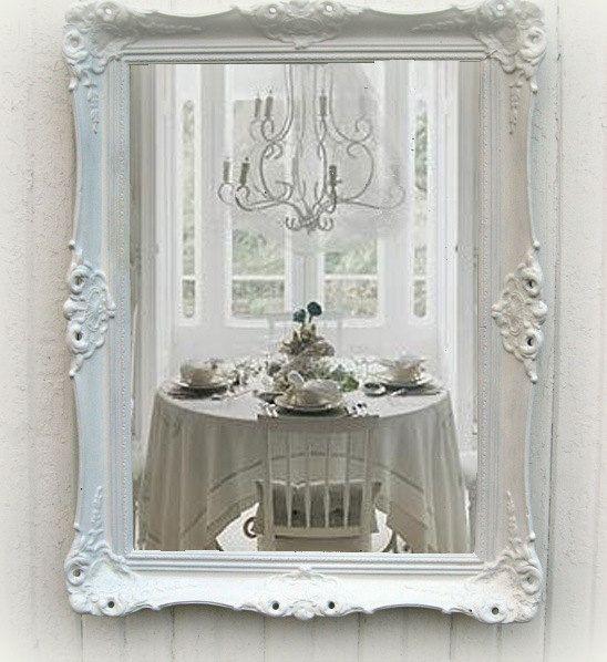 Shabby chic white mirror antique parlor mirrorcottage chic beach c