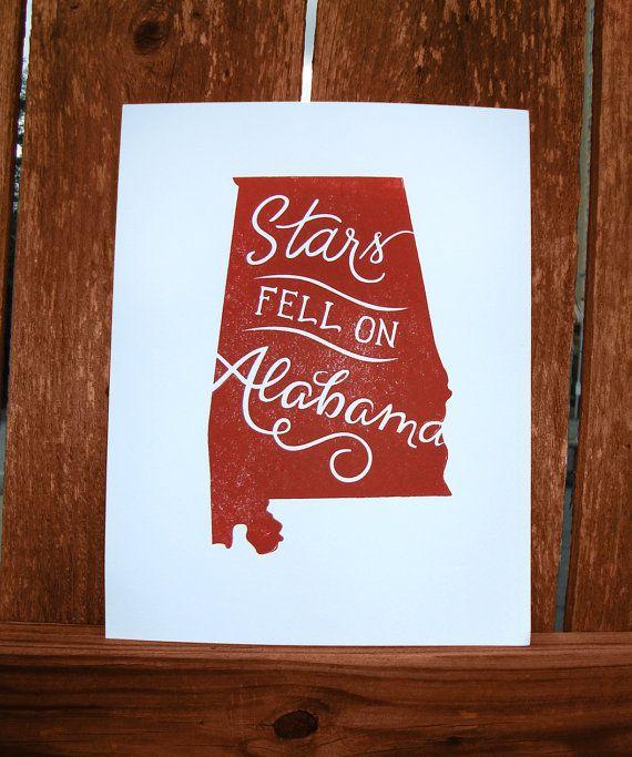 Alabama Print Stars Fell on Alabama by ThePinkHousePress on Etsy, $15 ...