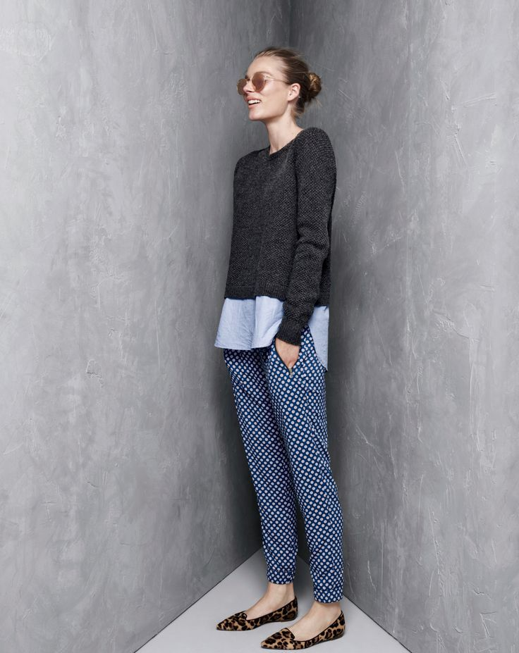 J.Crew women's Lambswool sweater, and Turner pant in medallion foulard.