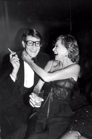Yves Saint Laurent with Nan Kempner at a launch for Opium perfume, 1978.