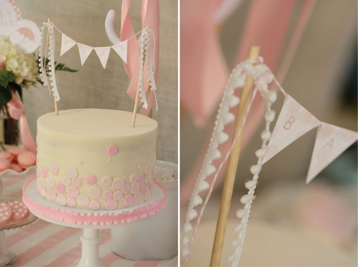 Pink and White Baby Sprinkle Cake with Bunting Cake Topper