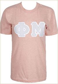 Apricot American Apparel tee with grey herringbone letters!