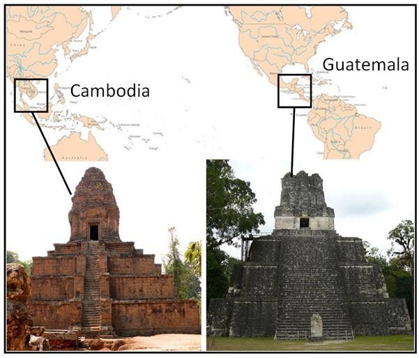 Parallel Pyramids Across The Pacific— Take note of the two twin pyramids—in particular, their similarities:   The temples are strikingly similar, but the  the Khmer and the Mayans were separated by the Pacific ocean, yet the Khmer's Baksei (left) and the Mayan's Temple of the Masks (right) are nearly identical. This is evidence of a deeper symmetry of religion, cultures, and traditions that are the same despite the vast distance separating the two cultures.