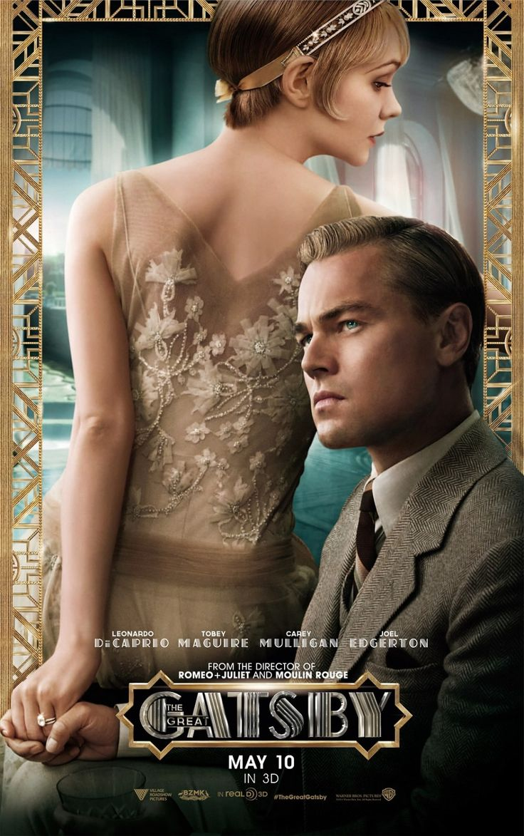 promotion poster of the Great Gatsby movie, 2013 with Leonardo DiCaprio and Carey Mulligan
