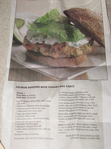 Salmon Burgers with Yogurt-Dill Sauce - Made these tonight and they ...